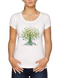b5c48d118c Vendax Meditare, Meditazione, Spirituale Albero Yoga Maglietta T-Shirt  Donna Bianco