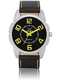 Xurious Enterprise Round Dial Analogue Black Dial Black Leather Strape Fashion Wrist Watch For Men & Boys | XE_VL...