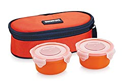 Smart lock SML-301 AirtightTiffin Box With Insulated Bag, Melamine,Dark Orange, 2 pc set