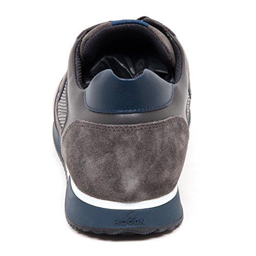 Hogan E2854 Sneaker Hombre Azul / Gris H198 Slash H Flock Calzado Hombre Gris / Azul
