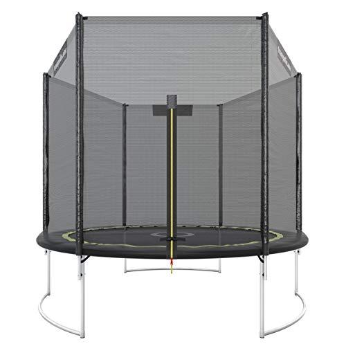 Trampolin.one by Ultrasport Outdoor Trampolin Starter, Kindertrampolin, Gartentrampolin Komplettset inklusive Sprungmatte, Sicherheitsnetz und Randabdeckung, schwarz, 244 cm