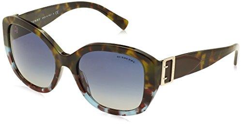 BURBERRY Damen 0BE4248 36364L 57 Sonnenbrille, Blau (Green Blue Havana/Blueegradient)