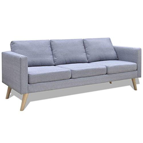 Vidaxl divano in tessuto a 2 posti grigio chiaro divanetto casa poltrona salotto