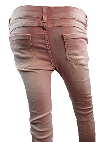 Super Stretch Skinny Damen 3/4 Capri Leggings Jeans Sterne Strass Glitzer Pailletten (weitere Farben) Pink