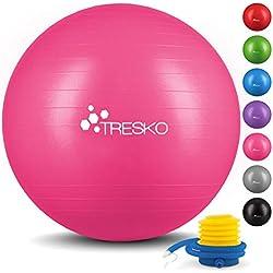 TRESKO® Pelota de Gimnasia Anti-Reventones   Bola de Yoga Pilates y Ejercicio   Balón para Sentarse   Balon de Ejercicio para Fitness   300 kg   con Bomba de Aire   Rosa   65cm