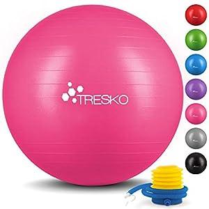 TRESKO® Anti-Burst Gymnastikball 55cm 65cm 75cm 85cm | Sitzball | Yogaball |...