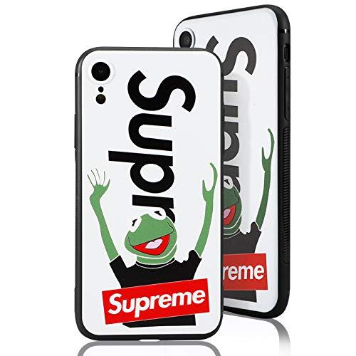 SUP Frog Case [ Passend für iPhone XR, in Weiß ] Supreme x Kermit der Frosch Hülle - Fühlbares 3D-Motiv Cover