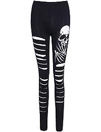 Femme Legging de Sport Pantalon Moulant Creusant Pants Longues de Trou  Cassé Taille Moyenne Élastique Mode Casual Legging Imprimé Tête… 5036b796b5a6