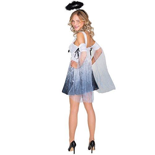 Imagen de disfraz para mujer de ángel | vestido con aureola negra y mitones con lazada y tul m | no. 300251  alternativa