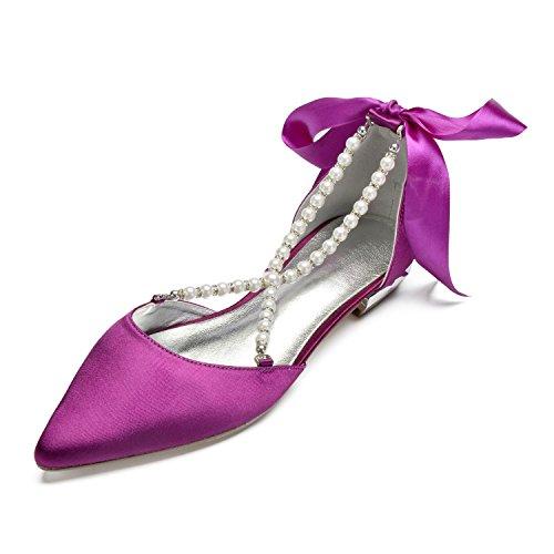 MarHermoso Damen Spitze Zehen Krause Perlen Gürtel Elegante Ballerinas Violett Flache Brautschuhe