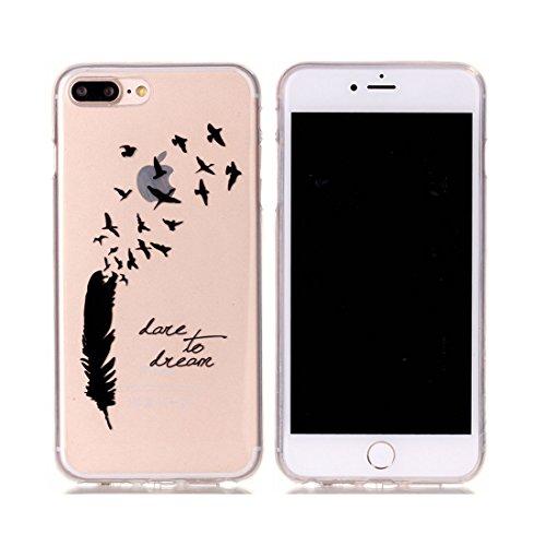 iPhone 7 Plus Custodia,iPhone 7 Plus Case,Patate piuma Custodia in TPU Gel Ultra sottile [Trasparente] Custodia protettiva in gomma flessibile case cover para for iPhone 7 Plus 5.5inch colour & 8