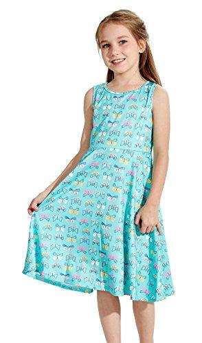 Funnycokid Baby Mädchen Schmetterling Drucken Kleid Weiche Outfits -
