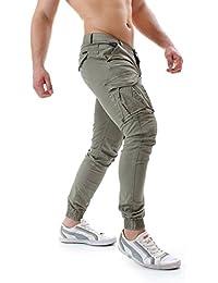 instinct Pantaloni Uomo Cargo con Tasche Laterali Tasconi Slim Fit Polsino Zip Cotone New W7703