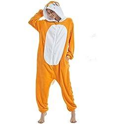 Yuson Girl Pijamas de Unicornio Pijamas de UnaPieza Adulto Pijamas Unisexo Adulto Traje Disfraz Adulto Animal Pyjamas (XL:177cm-185cm, Zorro)