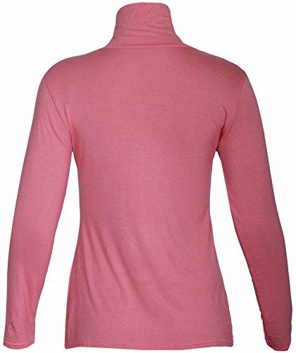 Nuovo da donna effetto tartaruga Polo collo elasticizzato Top da donna a maniche lunghe Everyday T-Shirt Tops le misure Plus Coral