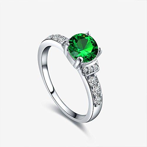 Swallowuk Frauen-Legierungsring Acht Herz-acht Pfeil-Diamant-Hochzeits-Ring (6, grün)