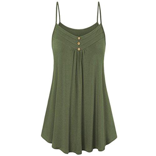 iHENGH Damen Sommer lose Knopf V-Ausschnitt Cami Tank Tops Weste Bluse(Medium,Armeegrün) -