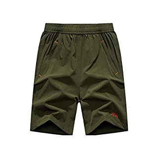 DULEE Plus Size Men's Summer Beach Quick-Drying Board Shorts Swimming Water Short,Army Green 7XL