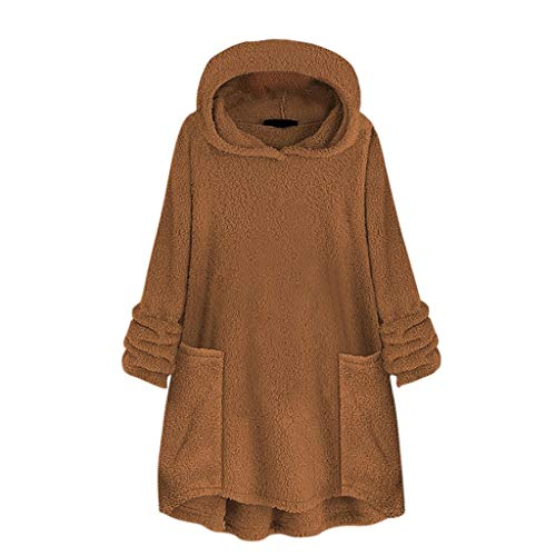 Damen Wintermantel Wollpullover mit Kapuze für Damen Basic Stylisch Warm Dick Herbst Wintermantel(Braun,XXXL)