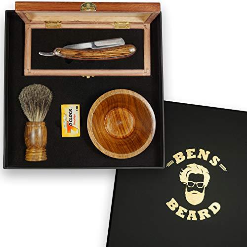 Rasiermesser Set mit Wechselklingen - Rasierpinsel aus Dachshaar, klassisches Rasiermesser in edler Holzkiste und Schale für Rasierschaum. Ideal als Geschenk zum Geburtstag, Weihnachten in Geschenkbox