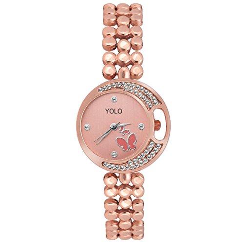 Yolo Quartz Rose Gold Chain Women\'s Watch=YLC-077