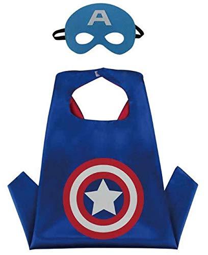 Costumi da supereroi per bambini - regali di compleanno - costumi di carnevale - 1 mantello e maschere - logo – giocattoli per bambini e bambine captain america flash e ironman (capitan america)