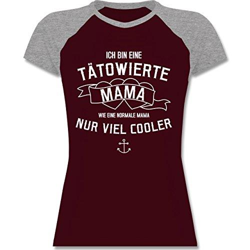 Muttertag - Ich bin eine tätowierte Mama - S - Burgundrot/Grau meliert - L195 - zweifarbiges Baseballshirt / Raglan T-Shirt für Damen (Tätowierte Herz)