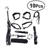 HEALIFTY 10 pezzi sotto il letto Restrizioni Kit Cosplay flirt Set con manette Vibratore Plug per uomini e donne (nero)