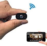 Mopoq 1080P Hidden Portable WiFi Camera With Motion Detection, Mini Spy Security Camera For Babysitter, Black