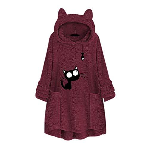 Smonke Damen Fleece Lose Sweatshirt Stickerei Katze Ohr Plüsch Pullover Mode Plus Größe Hoodie Tasche Tops Langarm Pullover Frauen Herbst Winter Bluse -