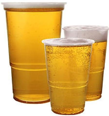 De Sortie–50x Verres à pinte bière en plastique robuste Tasses jetables Transparent Flexible Gobelets CE