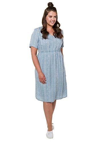 Ulla Popken Damen Große Größen bis 62+ | Lyocell-Kleid mit Ethnomustern | Tiefer V-Ausschnitt | überschnittene Schultern | Halbarm | Light Blue 46/48 716151 92-46+