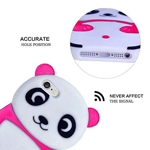 3D Mignon Panda Coque pour iPhone SE/5S/5 étui de Protection Housse,MingKun iPhone SE/5S/5 Case Cover TPU Silicone Coque Haute qualitie Silicone Confortable Doux au Animé Animal Style Couverture Hull- Panda-Rouge