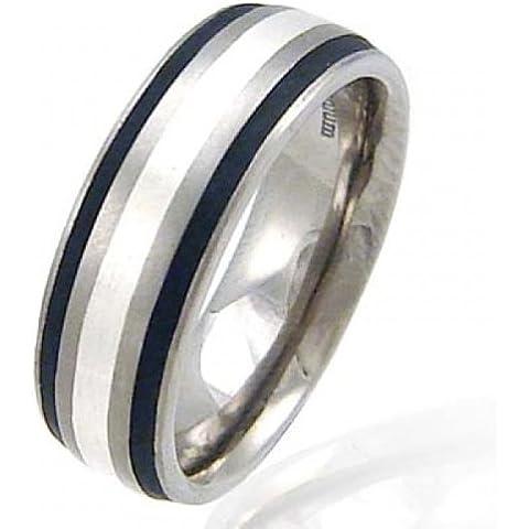 Anello in titanio 7 mm & argento con smalto, colore: (Titanio 7 Mm Matt)