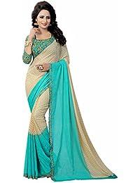 Ishin Faux Georgette Beige & Blue Printed Party Wear Wedding Wear Casual Wear Festive Wear Bollywood New Collection...