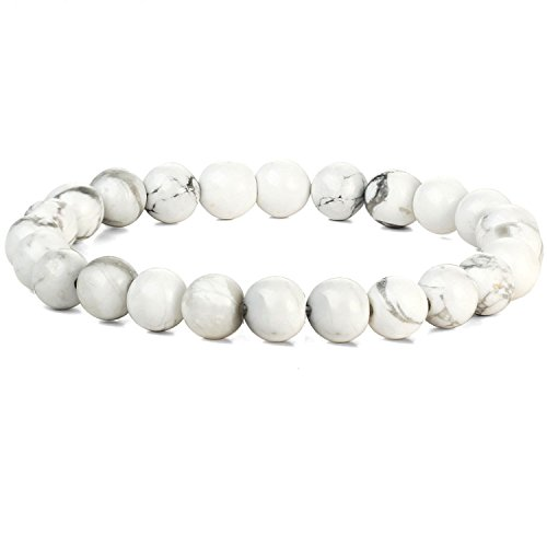 Lion & Son Gaia Armband - Tigerauge Herren Men Schwarz Natur Perlen Schmuck Vintage Rock Bracelet Fashion Onyx Matt Lava, Farbe:White