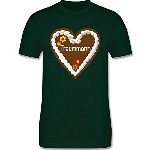 Oktoberfest Herren - Lebkuchenherz Traummann - Herren Premium T-Shirt Dunkelgrün