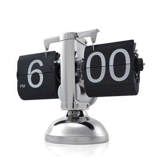 Preisvergleich Produktbild Retrouhr - Retrotischuhr mit Klappzahlen - Klappziffern im edlen Design aus Metall