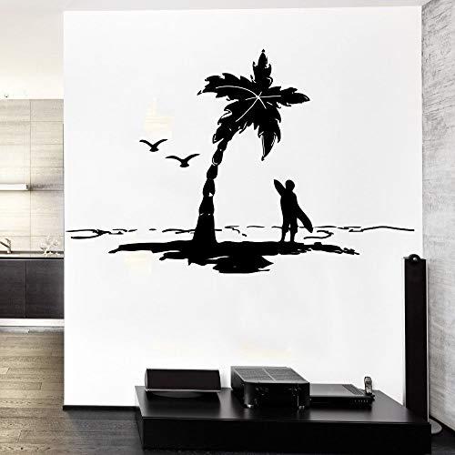 56 * 56 cm Ocean Sea P lams Con Sea Gulls Surfer con tabla de surf Silueta Cool Etiqueta de la pared Aer Design Home Room Decor Vinyl MuralY
