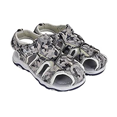 MYAU Kids Military Design Sandal for Girls and Boys (11C, Grey)