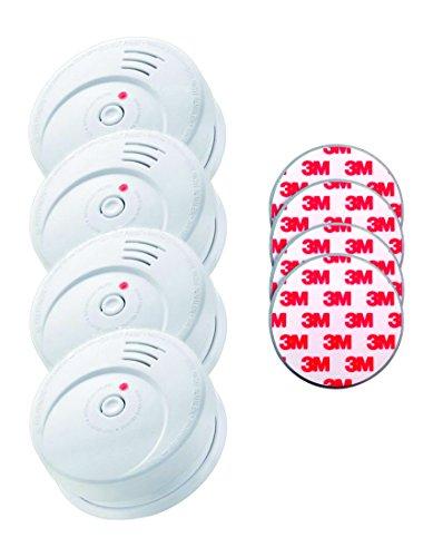 Jeising 6/GS508 GS506G 4-er Set Rauchwarmelder mit 10 Jahres Lithium Batterie Kriwan Testzentrum Zertifiziert EN14604 inkl. Magnetbefestigung Magnetopad, weiß -