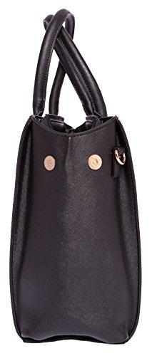 Damen Handtasche Schultertasche Tasche Large Umhängetasche Entwerfer Shopper Henkeltasche, Neu (Schwarz) - 3