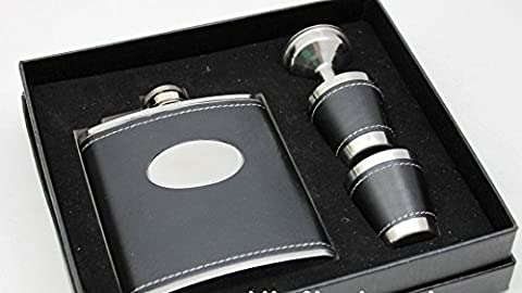 Personalised Engraved Black 7oz Hip Flask Gift Set, with 2 Cups and Funnel by Lucy G