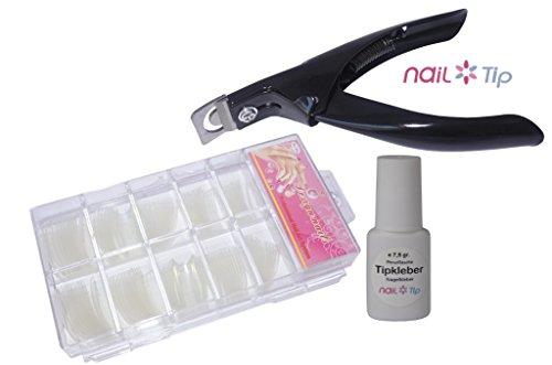 Colle 7,5 Gr. + Tip Cutter + 100 French Tips Transparent en kit