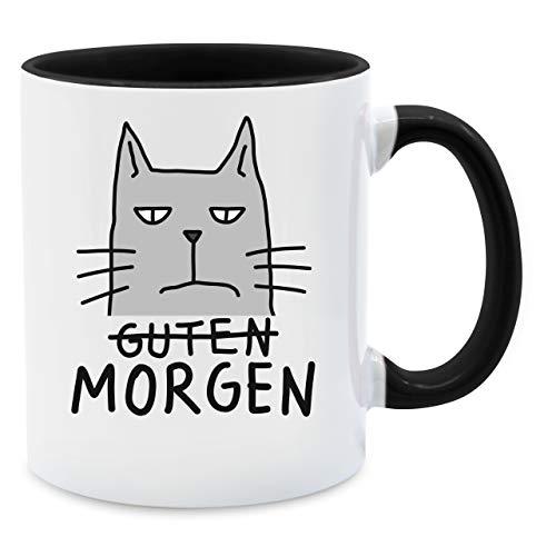 Tasse mit Spruch - Guten Morgen Katze - Unisize - Schwarz - Q9061 - Kaffee-Tasse inkl. Geschenk-Verpackung