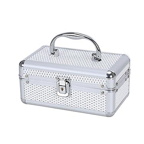 Kleine Schmuck Box Make-up Aufbewahrungsbox Fall Organizer mit Schloss und Schlüssel–Silber Aluminium finish–leicht zu transportieren, große Ablagefläche, schützt Jewelry von Kratzern–Perfekt für Unterwegs