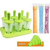 Bioeilife Eisformen Set, 6 Stück Eis am Stiel Bereiter und 40 Eis-Pop-Form,1Trichter (Mitte)
