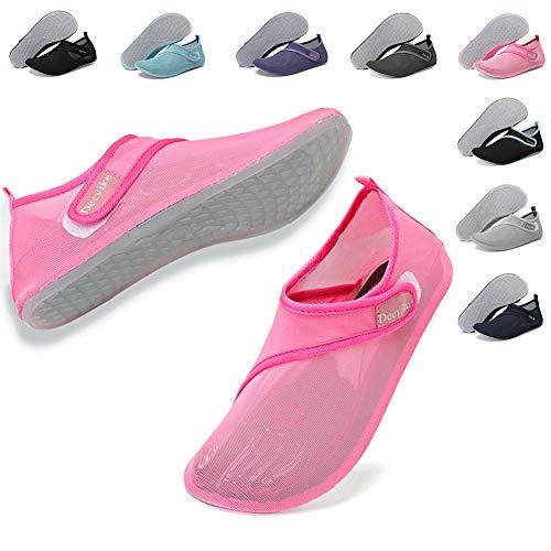 Deevike Damen Wasserschuhe Schnelltrocknend Strand Pool Schwimmen Aqua Socken Leichte Yoga Schuhe für Surf Tauchen Schulung Rosa 38/39 -
