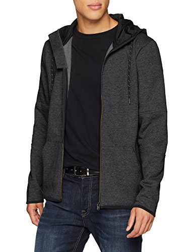 JACK & JONES Herren Sweatjacke Jcoalpha Sweat Zip Hood, Schwarz (Black Detail: Melange), Large