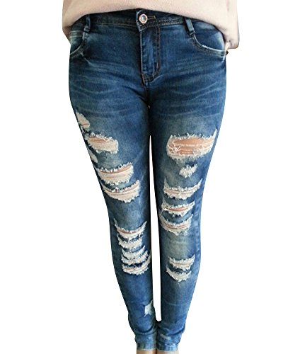 Moollyfox Womens Skinny Stretchy Fitted Jeggings Torn Hole Jeans